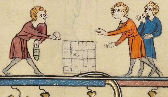 medieval children in an illustrated book